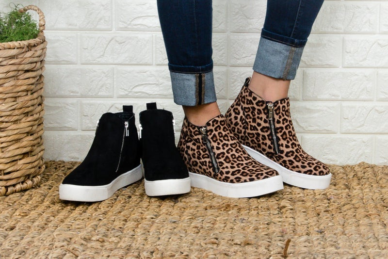 Zipper Suede Sneakers
