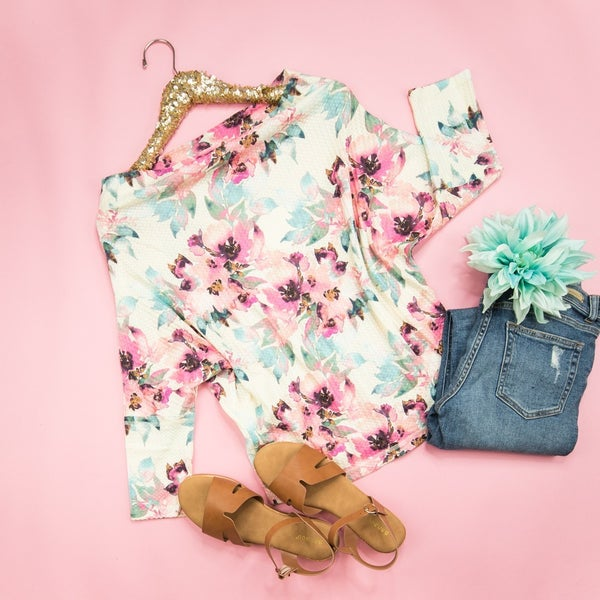 Flattering Floral Waffle Top