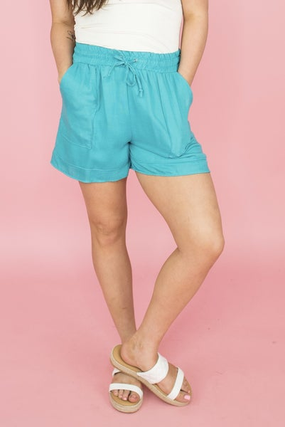 Take A Chance Teal Shorts