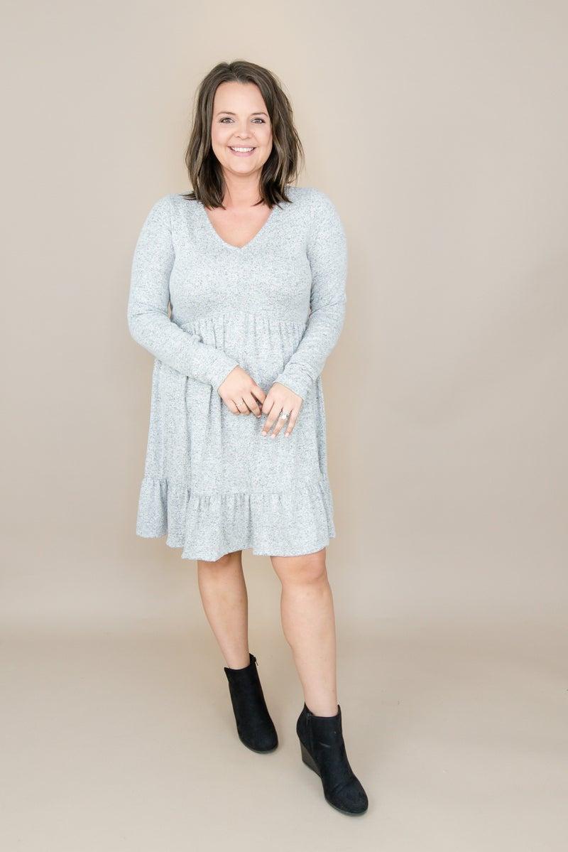 Heathered Gray Ruffle Dress