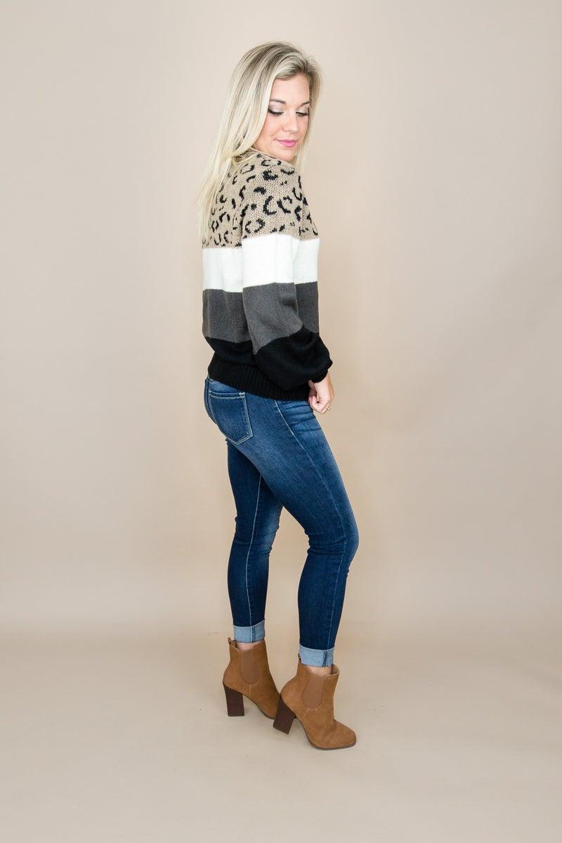 Dark Block Leopard Sweater