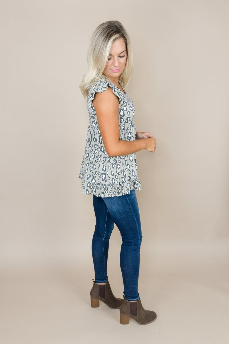 Muted Leo Babydoll Blouse