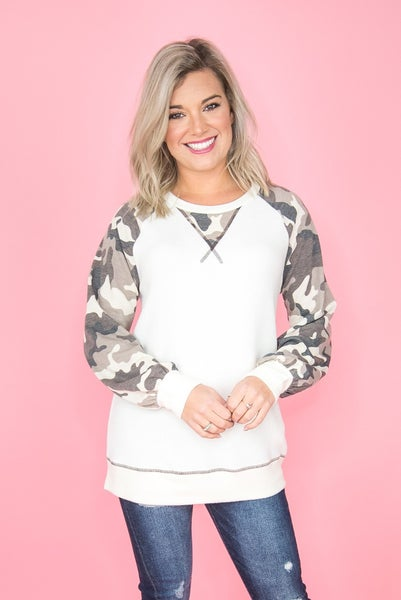 Plush Camo Stitch Top
