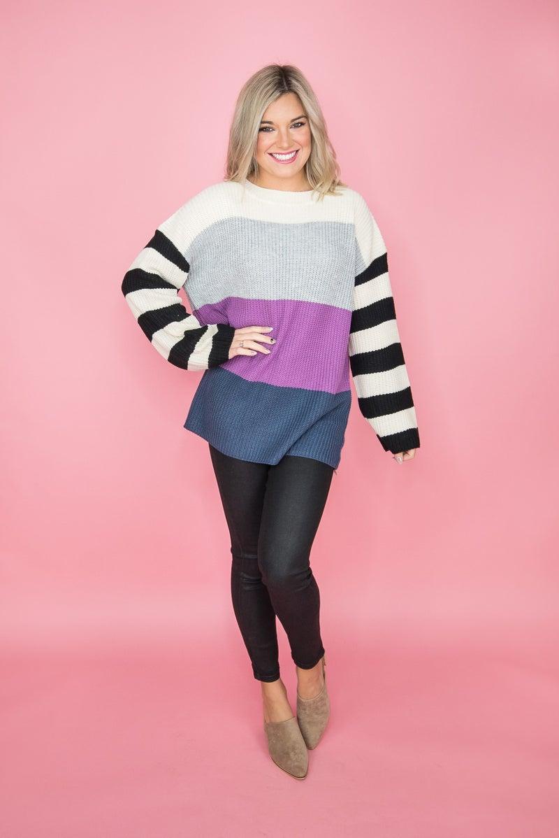Pop of Berry Stripe Sweater