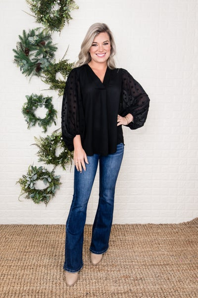 Little Pom Sleeve Black Blouse