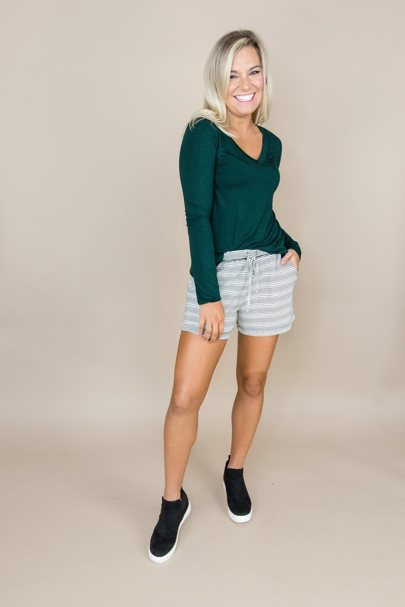 Happy Hour // Striped Cozy Shorts *all sales final*