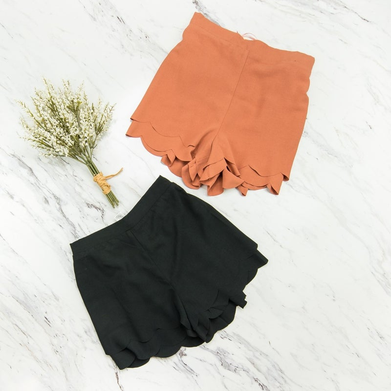 Scalloped Fall Shorts