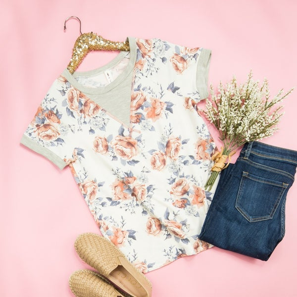 Muted Floral Simple Tee *all sales final*