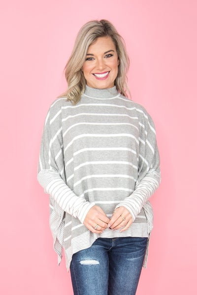 Gray Stripes Poncho Top