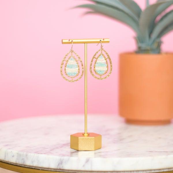 Hammered Oval Beaded Earrings