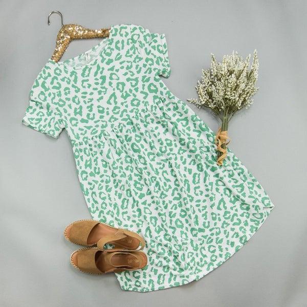 Emerald Leopard Dress *all sales final*