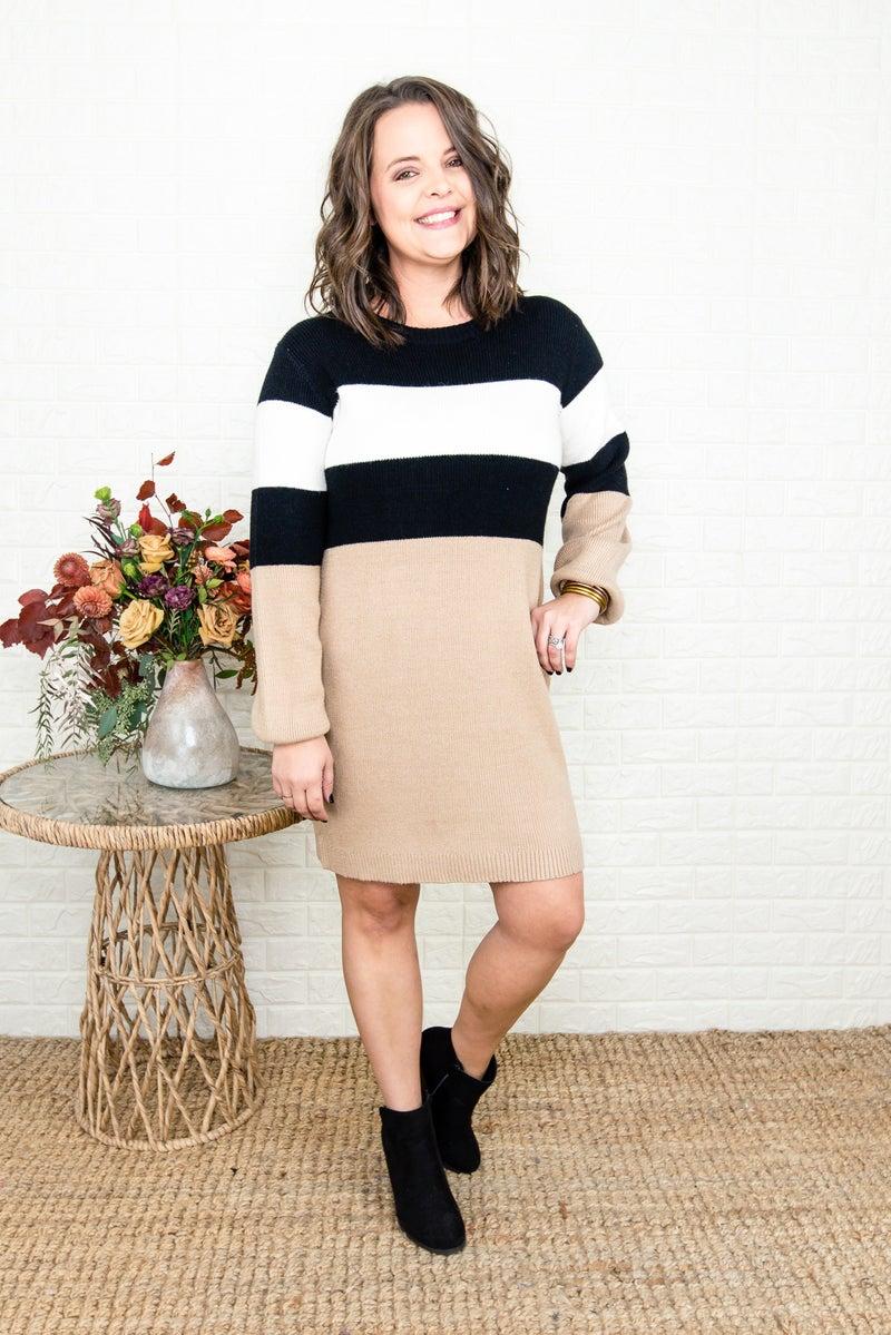 Neutral Block Sweater Dress