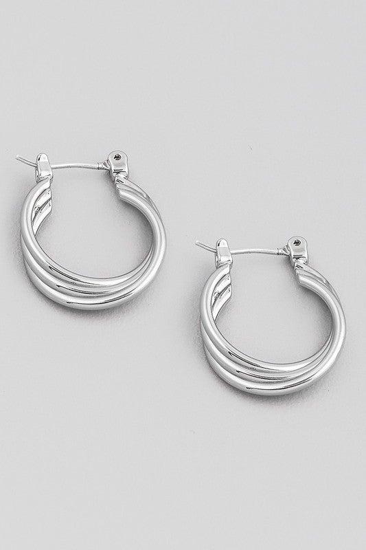 Cross Knot Petite Hoop Earring