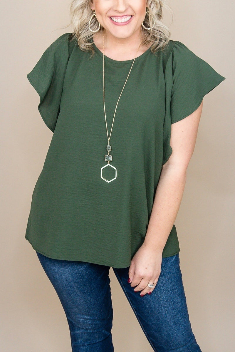 Olive Bow Tie Blouse