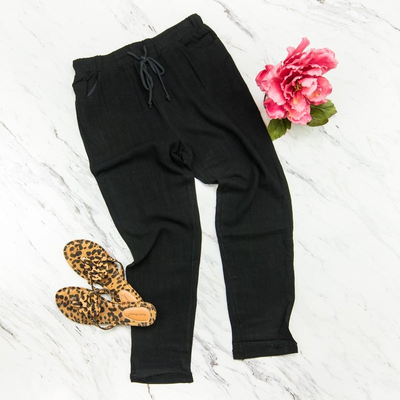 Work or Play Black Linen Crops