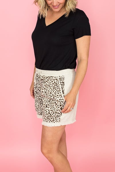Leopard Front Linen Shorts
