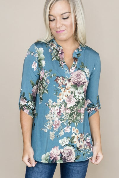 Teal Floral Blouse *all sales final*