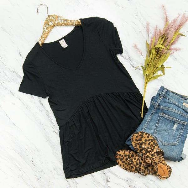 Flaunt Black Peplum Top