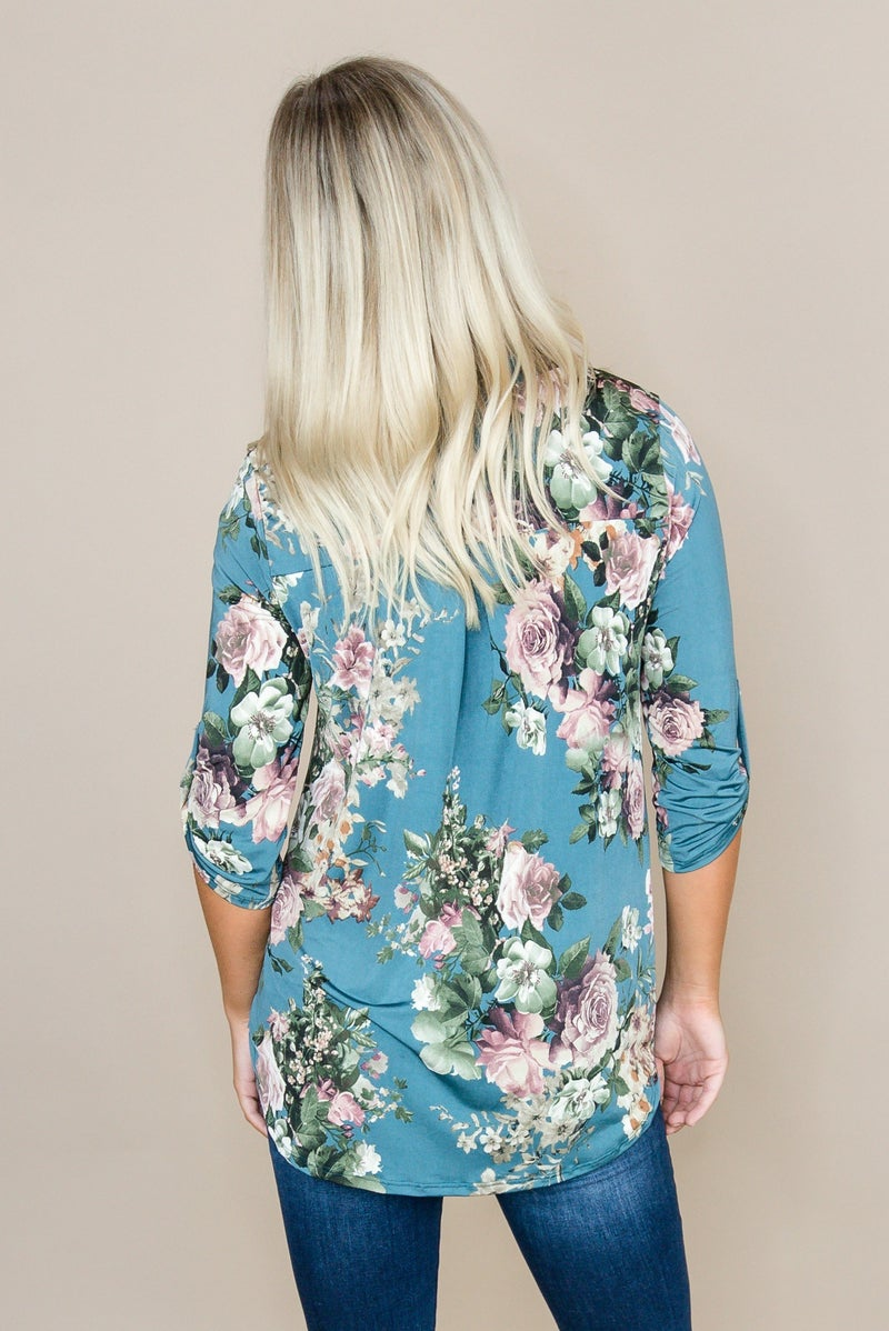 Teal Floral Blouse