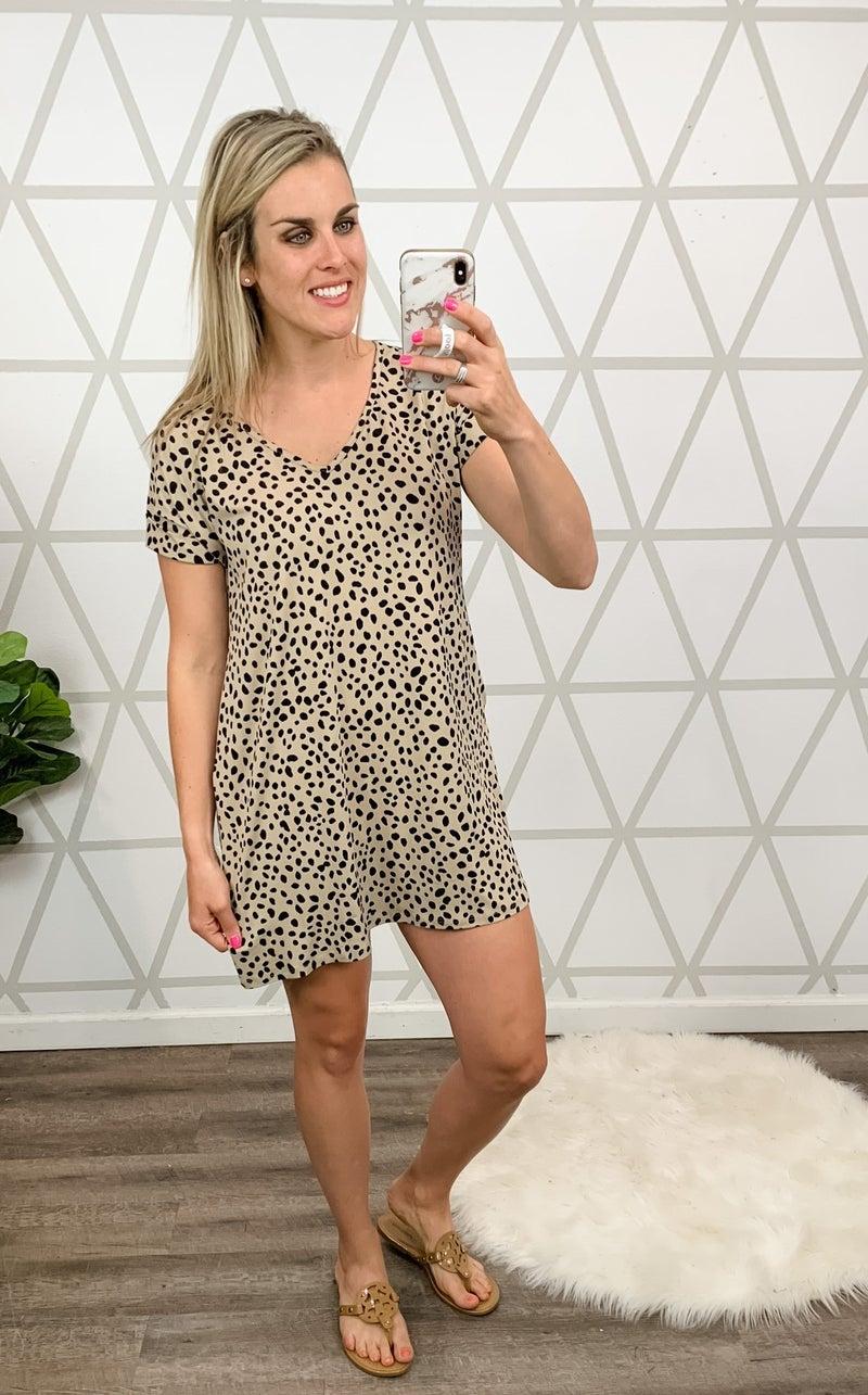 Taupe Spotty Dot Dress *all sales final*