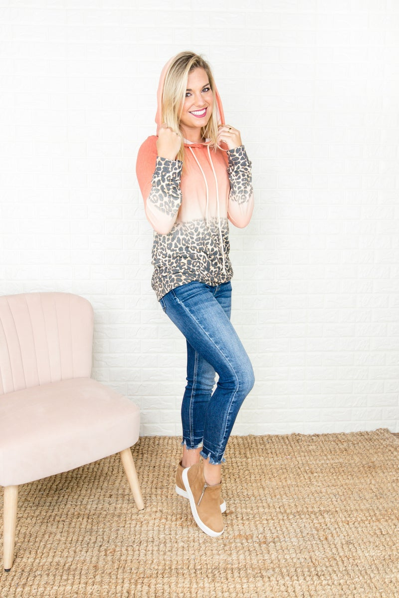 Ombre Leopard Hooded Top