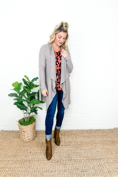 Taupe Waterfall Cardigan *all sales final*