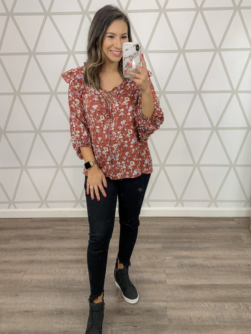 Fall Floral Work Blouse *ALL SALES FINAL*