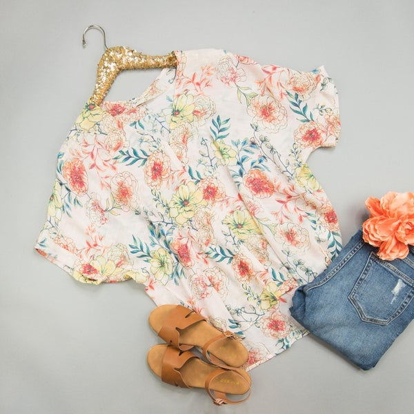 Peach Floral Blouse *all sales final*