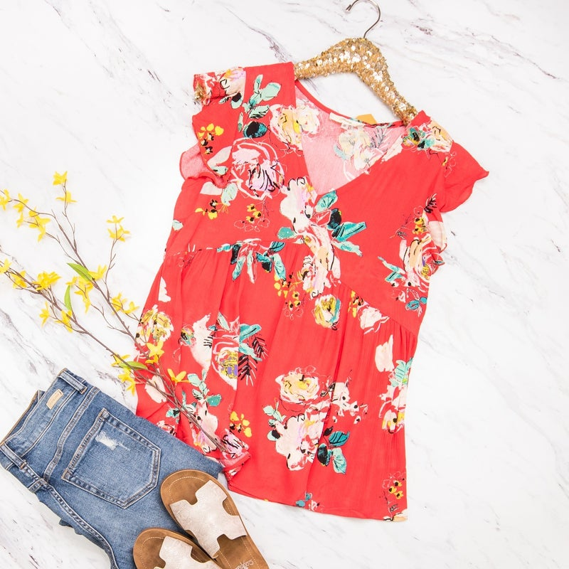 Red Babydoll Blouse *all sales final*