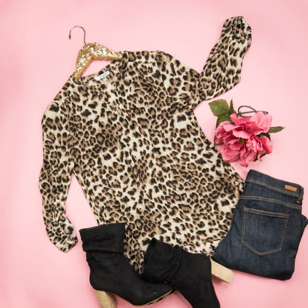 Leopard Layover Work Blouse *all sales final*