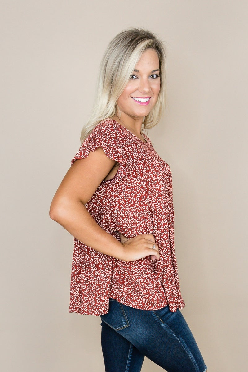 Rust Floral Tier Blouse