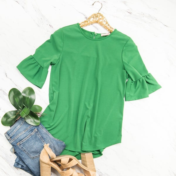 Kelly Green Bell Blouse *all sales final*