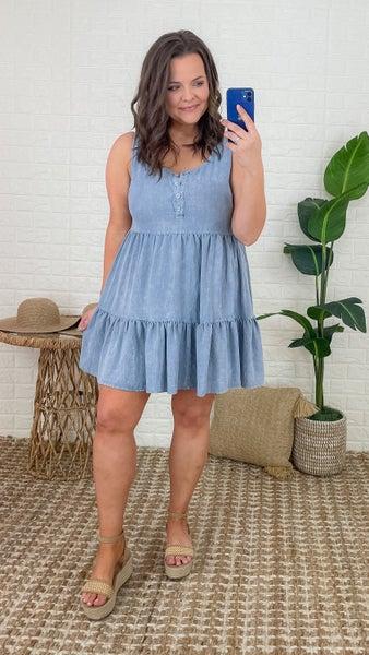 Denim To You Ruffle Dress