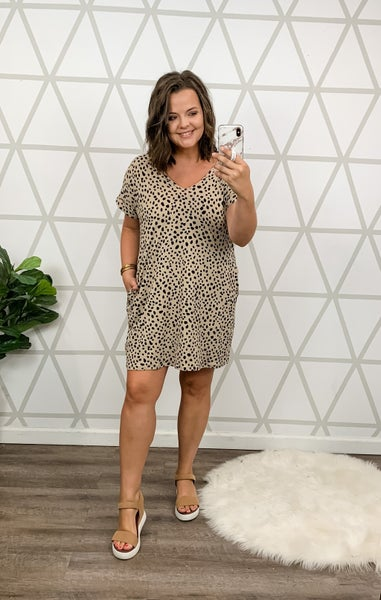 Taupe Spotty Dot Dress