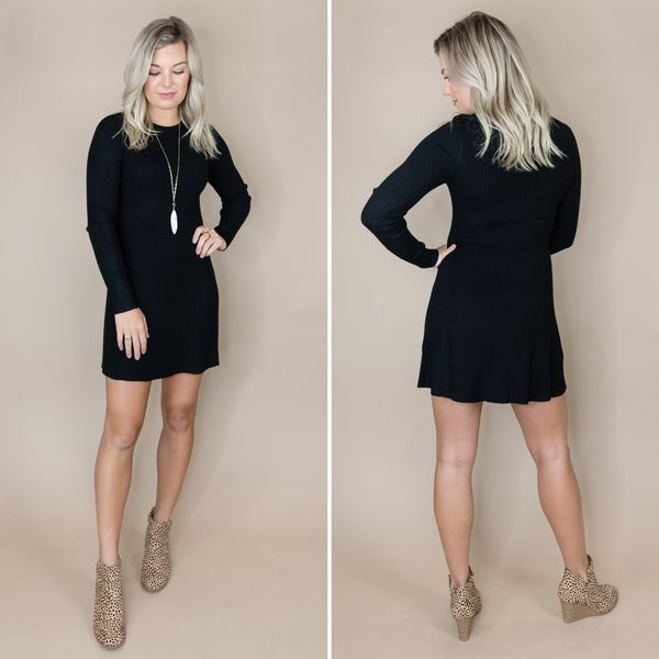 Flirty Black Sweater Dress