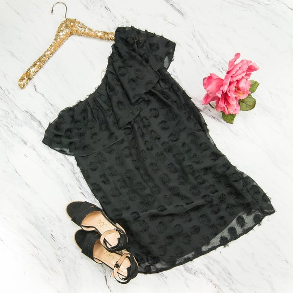 Black Swiss Dot One-Shoulder Dress