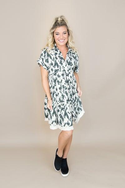 Oatmeal Smudge Print Dress
