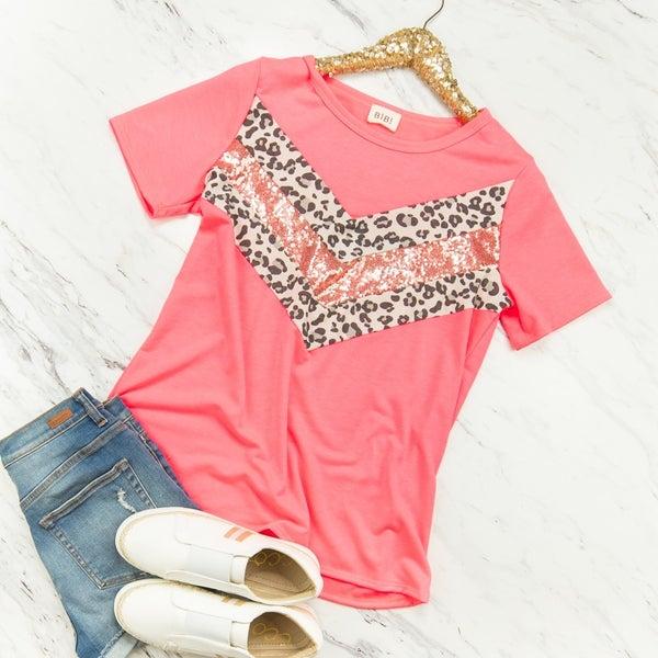 Neon Pink Leo Sequin Top