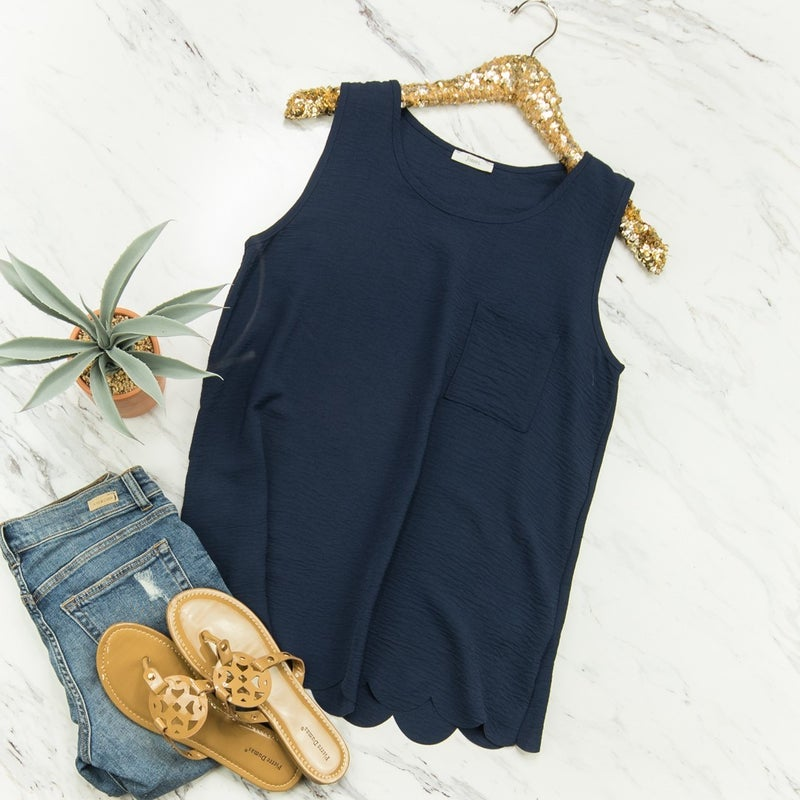 Navy Scalloped Top