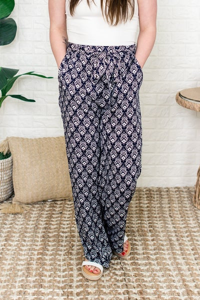 Boho Printed Bow Tie Pants
