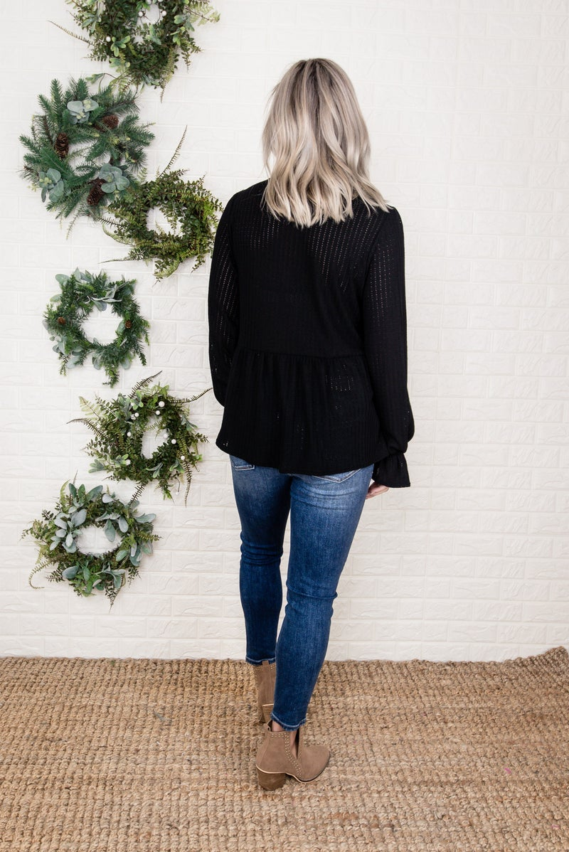 Darling Black Ruffle Blouse