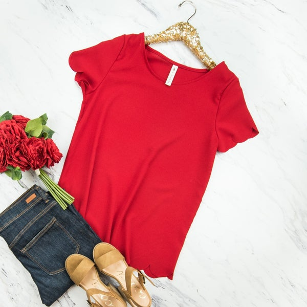 Cherry Scalloped Blouse