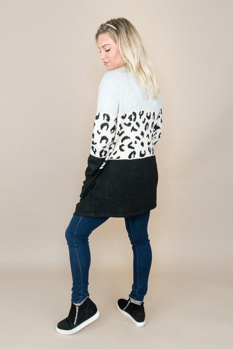 Leopard Block Cardigan