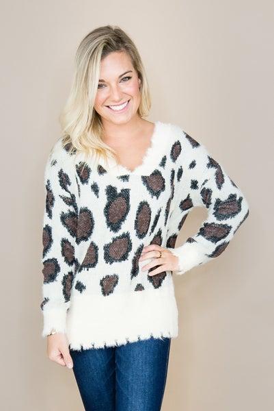 Raw Hem Leopard Sweater