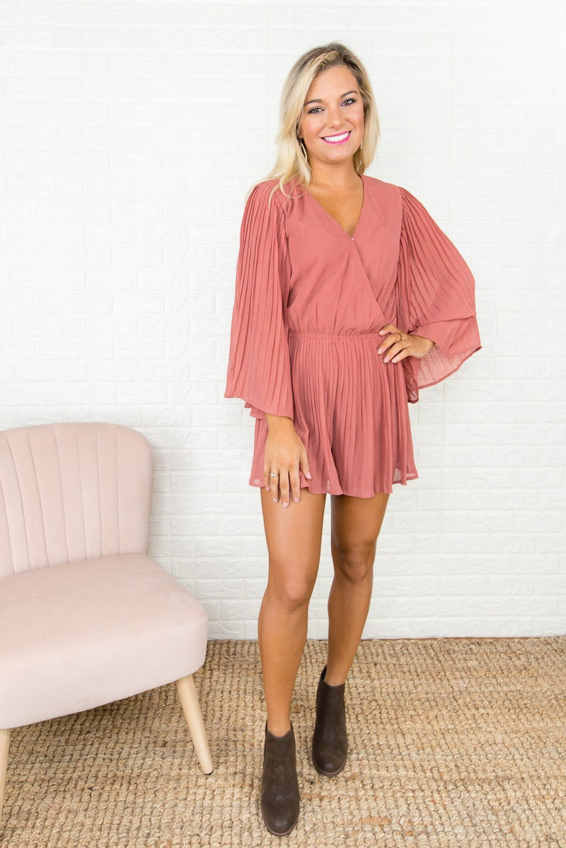 Mauve Pleated Romper