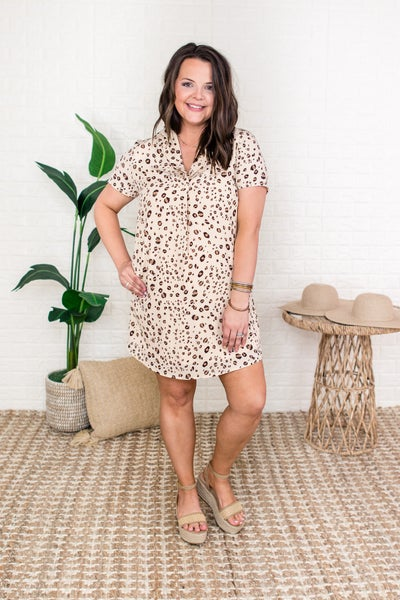 Taupe Leopard Collared Dress