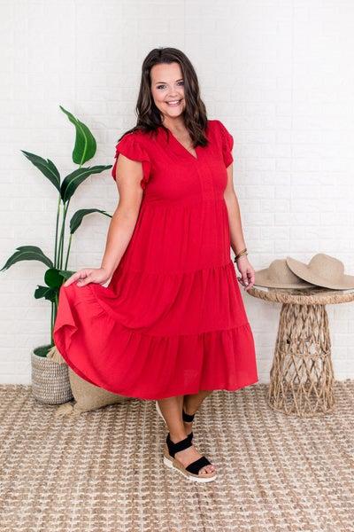 Red Tier Midi Dress