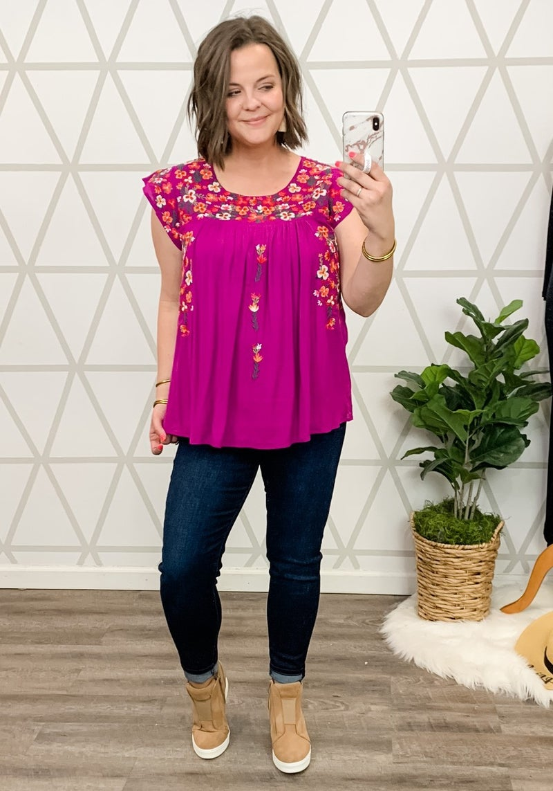 Magenta Embroidery Blouse
