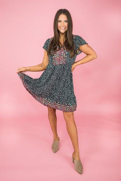 Spotty Dot Embroidered Dress