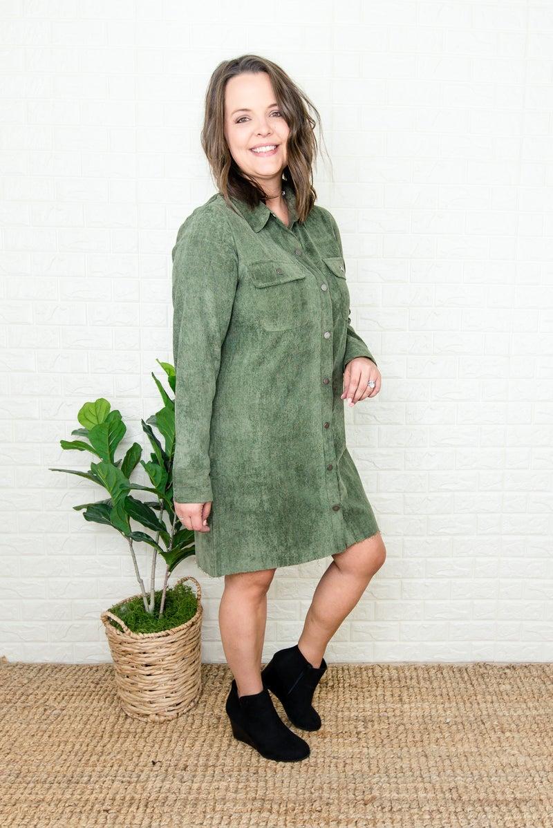 Trendy Olive Button Dress